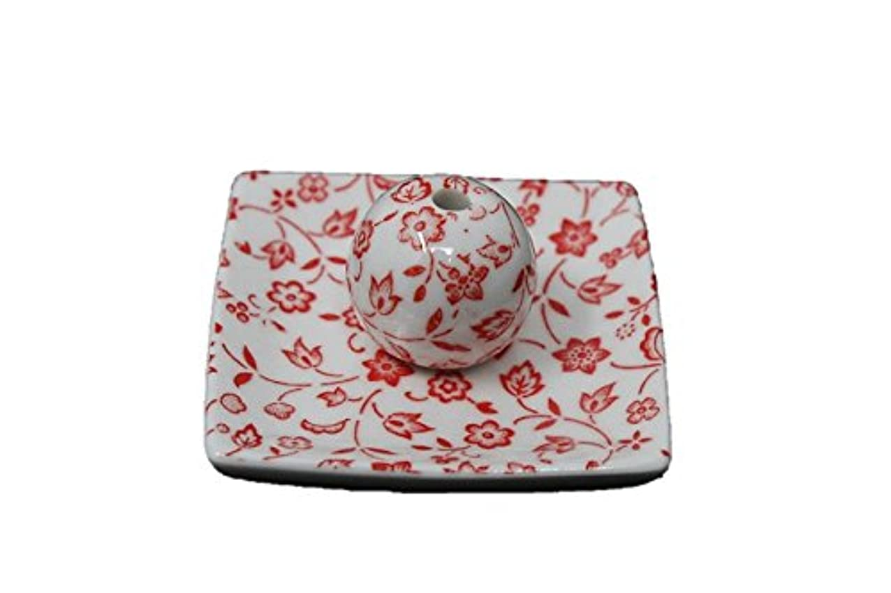 コードジャーナリスト商品赤小花 小角皿 日本製 美濃焼 お香立て お香たて 陶器 製造 直売品 レモングラス