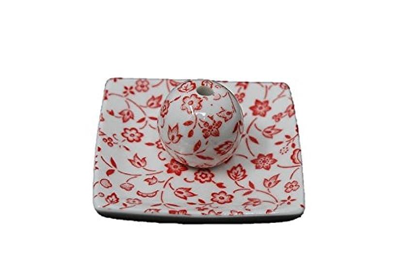 飾り羽知事化粧赤小花 小角皿 日本製 美濃焼 お香立て お香たて 陶器 製造 直売品 レモングラス