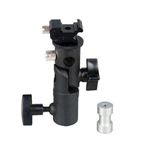 MyArmor アンブレラホルダー 180度角度調整可能 アルミ製 ホットシュー付き 1/4と3/8インチネジ 三脚 取り付け可能 フラッシュブラケット (2セクション)
