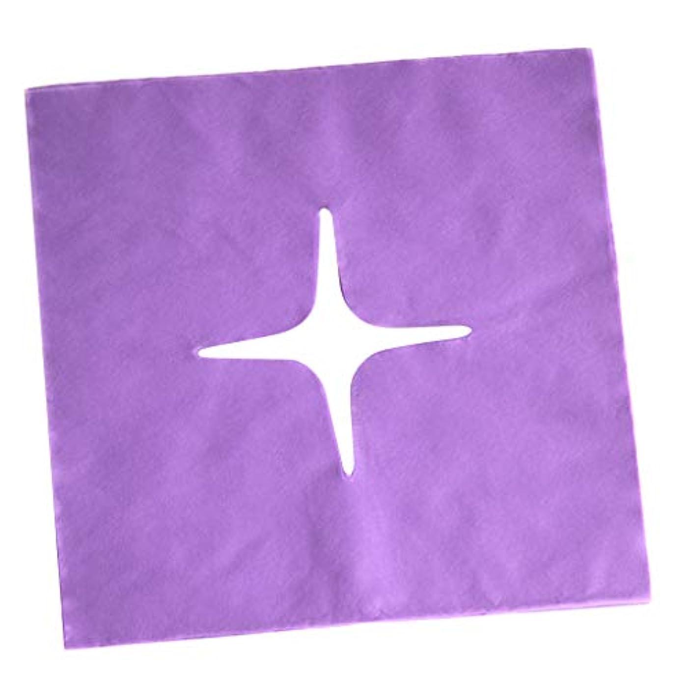 から聞く矩形味方Hellery フェイスクレードルカバー マッサージフェイスカバー 使い捨て マッサージ用 美容院 サロン 全3色 - 紫の