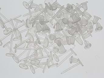 紗や工房 平皿付樹脂ピアスパーツ(約12mm・皿約5mm)約25ペア(約50ヶ) クリア ポストピアス 台座付き キャッチ付 ピアス素材 副資材 手芸材料