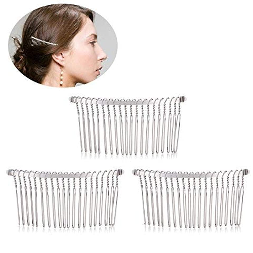 出演者ハント熱意Pixnor 3pcs 7.8cm 20 Teeth Fancy DIY Metal Wire Hair Clip Combs Bridal Wedding Veil Combs (Silver) [並行輸入品]