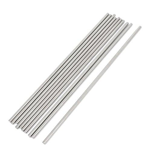 uxcell ステンレス鋼ラウンドロッド ステンレス鋼製シルバートン ストレートシャフト DIY RCモデル 3mm x 150mm 10個入