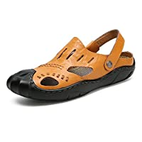 RONGLINGXING ファッション 夏のアウトドアウォーキング、メンズレジャービーチサンダル、コンフォートカジュアルソフトソール滑り止め防水シューズ、スイッチバックレスクローズドつま先スリッパ (Color : Orange, サイズ : 25 CM)