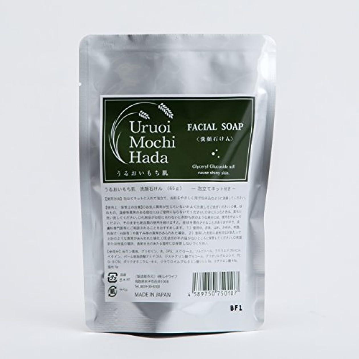 ディレイなめるルーうるおいもち肌 洗顔石けん(泡立てネット付き) 65g 「日本酒保湿成分(グリセリルグルコシド)配合」「4種の天然成分配合:グリセリン、スクロース、ソルビトール、食塩」「無添加:合成香料、合成着色料、鉱物油、シリコン、酸化防止剤...