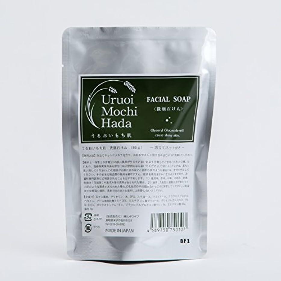 スクラッチデイジー塗抹うるおいもち肌 洗顔石けん(泡立てネット付き) 65g 「日本酒保湿成分(グリセリルグルコシド)配合」「4種の天然成分配合:グリセリン、スクロース、ソルビトール、食塩」「無添加:合成香料、合成着色料、鉱物油、シリコン、酸化防止剤、紫外線吸収剤、防腐剤、アルコール」