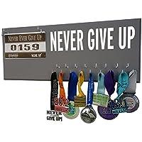 Running on the Wall – Race Bib and Medal表示rack-壁マウントスポーツメダルホルダーとハンガー5、K 10 K、マラソンランナー – Never Give Up