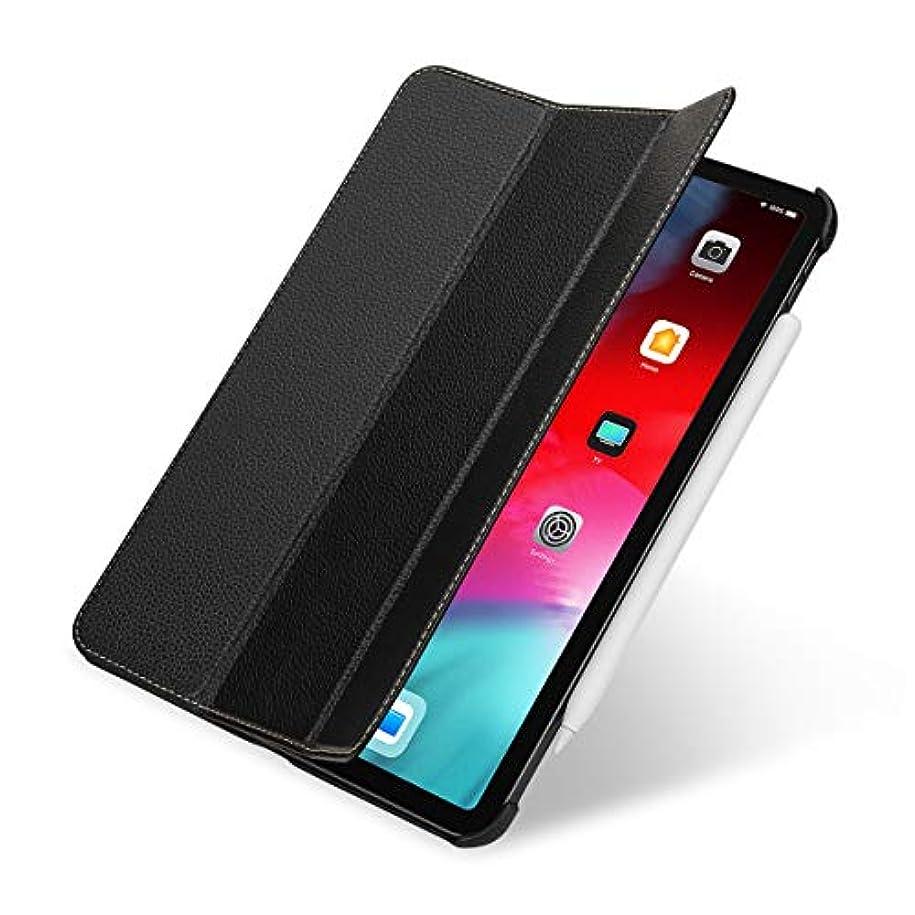 絶壁カウンタ体操StilGut Couverture 本革 全面保護 カバー 2018年 新型 Apple iPad Pro 11 インチ オートスリープ レザーケース 三つ折り スタンド付 ブラック
