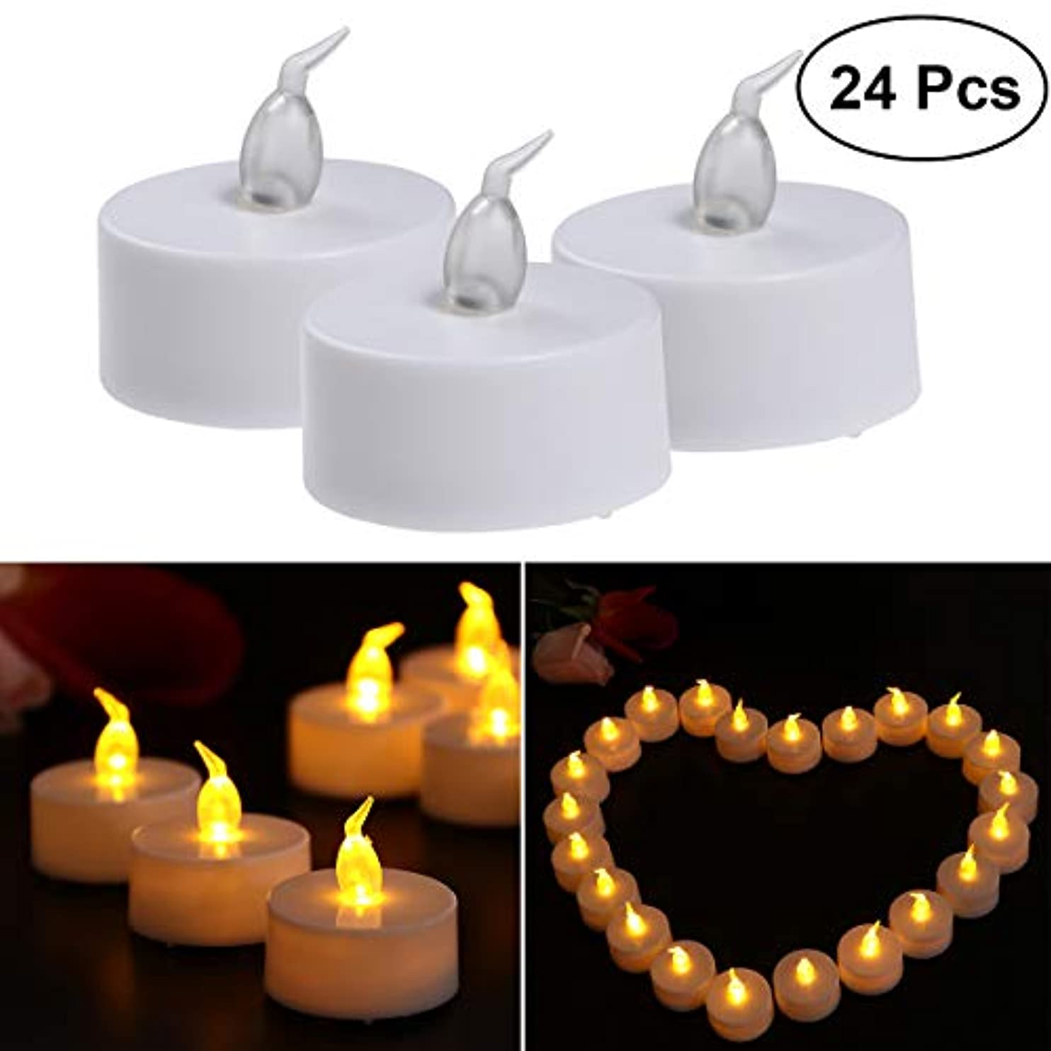 調べるアドバンテージソーシャルVosarea キャンドル ライト LED キャンドルを点灯 電池で動作 プラスチック 誕生日 祭り 祝賀 3.8×4.2cm 24ピース(黄色のフラッシュライト)