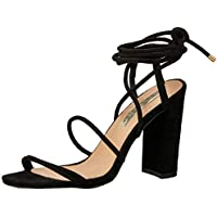 BILLINI Women's Orelia Strappy Block Heel, Black Suede, 7 AU