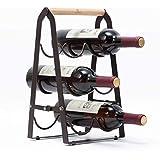 Kingrack Wine Rack 6 Bottles, Foldable Wine Bottles Holder Racks, Metal Copper Wine Holder Storage Free Standing, Ready Assembled, Easy to Put WKAU130915