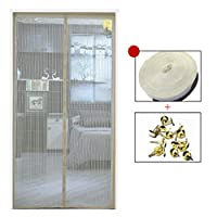 HUYYA Screen Doors With Magnets, Magnetic Screen Door Heavy Duty Mesh Curtain Close Automatically Self Sealing Anti Bug & Insect,Beige_40x84in/100x210CM