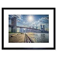 Photo Cityscape New York Brooklyn Bridge Landmark River Framed Wall Art Print 写真都市景観ニューヨークブリッジランドマーク川壁