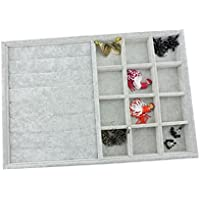 BOCAR Grey Velvet Jewelry Display Showcase Organizer Holder for Necklace Bracelet Ring Earring (GP-JZ+12G)