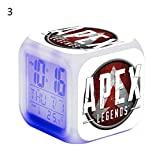 hapler 目覚まし時計 光る時計7色 デジタル Apex Legends エーペックスレジェンズ 光る時計 置き時計 ナイトライト デジタル時計 時間 温度 アラーム 日付 室内用 誕生日 size 8×8×8cm (3号)