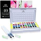 (40) - 40 Watercolour Paint Set Portable Travel Water Colours Set Includes Water Brushes Sponges Mixing Palette (40)