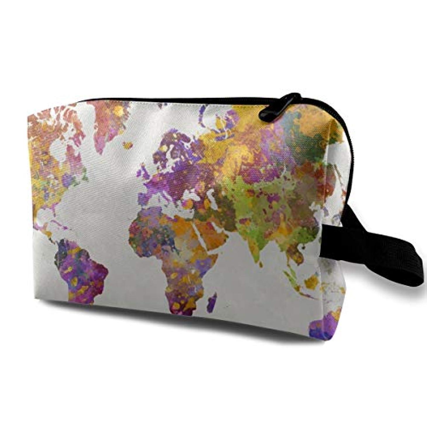 令状クラス同時Color World Map 収納ポーチ 化粧ポーチ 大容量 軽量 耐久性 ハンドル付持ち運び便利。入れ 自宅?出張?旅行?アウトドア撮影などに対応。メンズ レディース トラベルグッズ