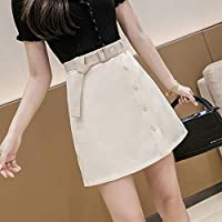 HJJUANAU Summer Little Daisy Buttons Decoration High-waisted A-line Short Skirt with Belt (Color : Apricot, Size : XXL)