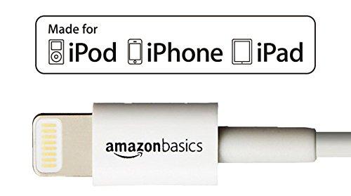 Amazonベーシック Apple認証 ハイクオリティー ライトニングUSB充電ケーブル 小型ヘッド設計 ホワイト 約90cm