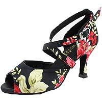 Miyoopark QJ6123 Womens Peep Toe High Heel Satin Floral Salsa Tango Ballroom Latin Ankle Wrap Dance Sandals