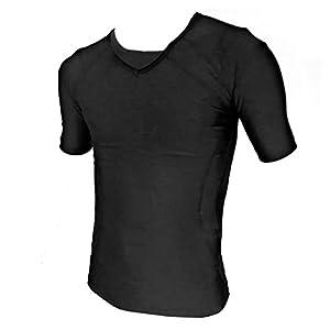 筋肉革命 コンプレッションウェア スポーツに最適 アンダーシャツ 加圧シャツ 半袖 スポーツインナー メンズ Lサイズ ブラック spotshirtL