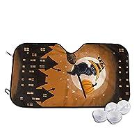 サンシェード ハロウィン 黒猫 車用 車用遮光カーテン 遮熱 吸盤式 カーシェード 紫外線対策 UVカット フロントガラス用 軽量 コンパクト 日よけ