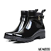 [AcMeer] レインブーツ レインシューズ レディース 雨靴 エナメル ベルト サイドゴア オシャレ 快適 防水 防滑 ショートブーツ 大きいサイズ 梅雨対策