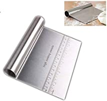 Pro Dough Pastry Scraper/Cutter/Chopper Stainless Steel Mirror Polished Good Grips with Measuring Scale Multipurpose-...