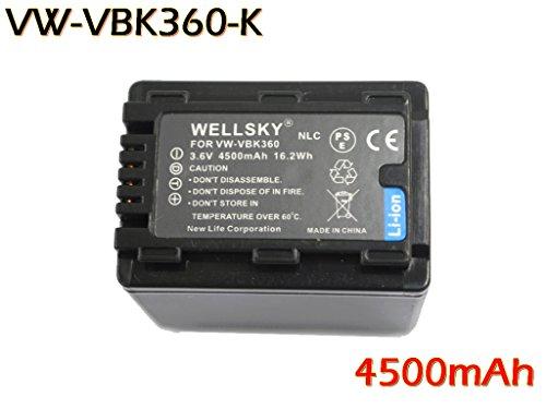 【WELLSKY】Panasonic パナソニック ●互換バッテリー VW-VBK360-K 1個 & 【超軽量】USB急速互換充電器 VW-BC10-K 1個●2点セット● 純正品と同じよう使用可能・残量表示可能● HDC-TM70 / HDC-TM60 / HDC-HS60 / HDC-TM35 / HDC-TM90 / HDC-TM95 / HDC-TM85 / HDC-TM45 / HDC-TM25 / HC-V700M / HC-V600M / HC-V300M / HC-V100M