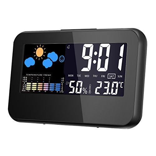 デジタル湿度計 温度計 GLISTENY 湿度計 温湿度計 気象計 目覚まし時計 デジタル湿度計 最高最低温湿度 自動点灯