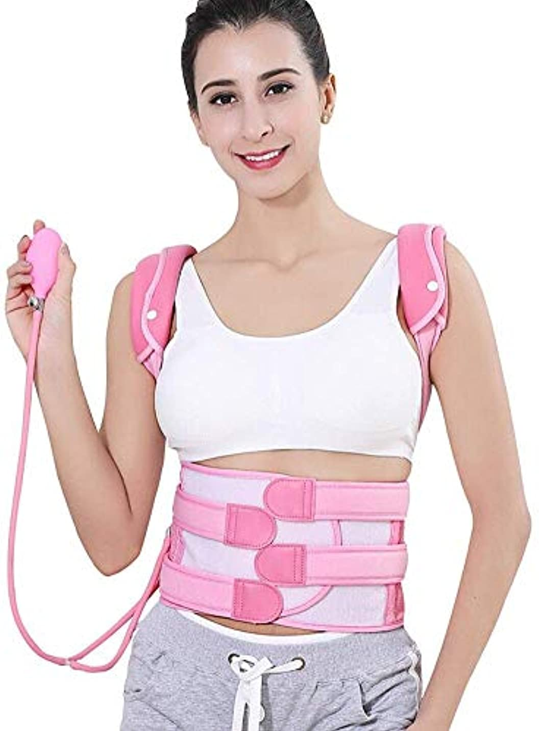 生きているフレキシブルめ言葉ユニセックス用の 姿勢補正器で調整可能なフルバックブレース腰椎サポートベルトにより、姿勢不良、空気圧が改善(色:ピンク、サイズ:S)