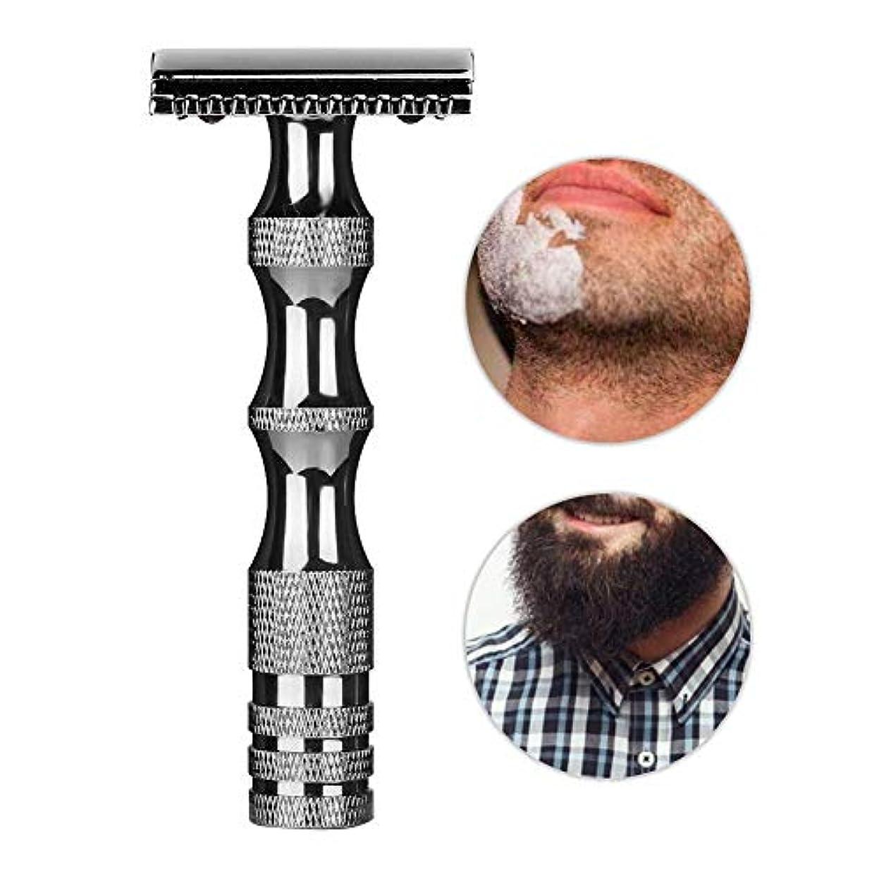 舌時間説明安全剃刀、クラシックメンズ滑り止めメタルハンドルデュアルエッジシェーバーヴィンテージスタイルメンズ安全剃刀、スムーズで快適な髭剃り(Dark Silver)