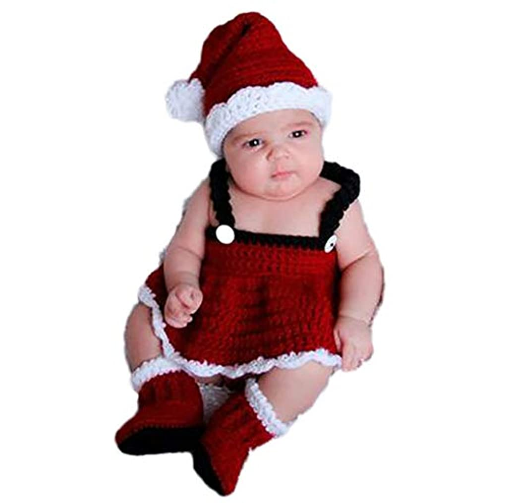 素敵なウィザード口ひげJ-LAVIE 寝相アート サンタ コスチューム 毛糸 女の子 着ぐるみ クリスマス サンタクロース 3点set ハロウィン ベビー服 仮装 新生児 出産祝い ギフト 記念撮影 赤ちゃんフォト