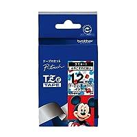 ブラザー工業 TZeテープ ディズニーテープ(ミッキーホワイト/黒字) 12mm TZe-MW31