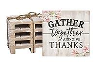 Gather Together Give Thank oフローラル 4 x 4インチ ドライパインウッドパレットコースター 4個パック