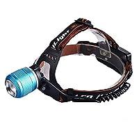 グレアズームXPE LEDヘッドライト、青と白のデュアル光源屋外釣り充電ヘッドライト