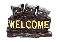 鋳鉄 猫 ドアストップ 素朴なブラウン ウェルカム3 キャット ドア ウェッジ ドアストップ