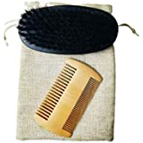 Solustre Beard Comb and Beard Brush Set with Beard Brush Style Bag for Home and Travel