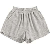 Verdusa Women's Elastic Waist Striped Pocketed Wide Leg Casual Shorts