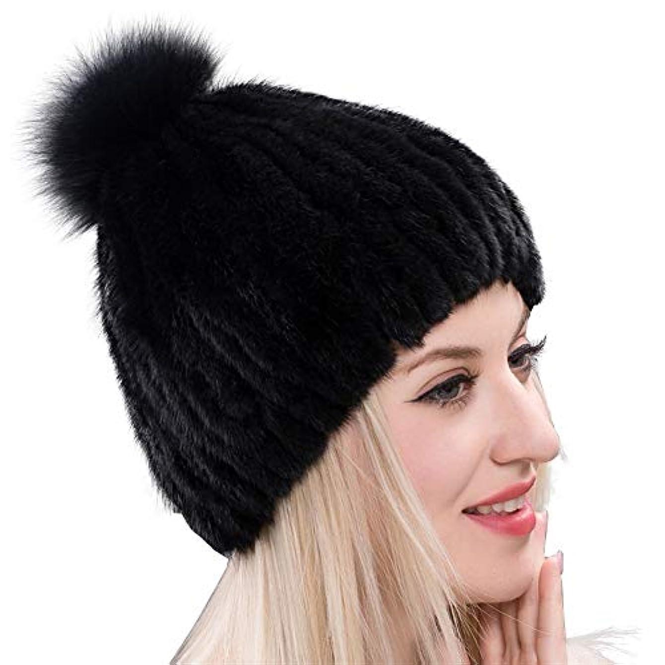 浮浪者彼ら頬ACAO さん冬の新ミンクの毛皮の帽子包頭さんのヨーロッパとアメリカのキツネの毛皮の暖かい手縫いボール幅のストリップのイヤーキャップ (色 : ブラック, Size : M)