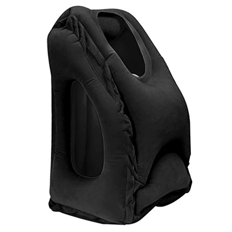 sarora Fastインフレータブル旅行枕 – 人間工学ポータブルNap枕ヘッド、ネックと腕のサポート飛行機、列車、さらにOffice Sleeping app.50x35x25cm/19.69x13.78x9.84inch ブラック Sarora