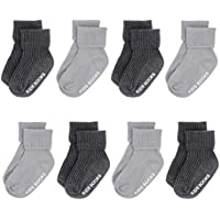 Baby Socks with Grips Non Skid Anti Slip Ankle Socks for Toddler Turn Cuff 8 Pairs
