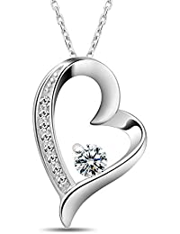 T400 Jewelers Sterling Silver Necklace for Women Love Heart Pendant Birthday Gift for Her