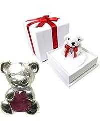 新宿銀の蔵 7月 誕生石 ルビー を抱く 3WAY仕様 クマチャーム ネックレス ストラップ 白クマの ギフト BOXセット レディース シンプル