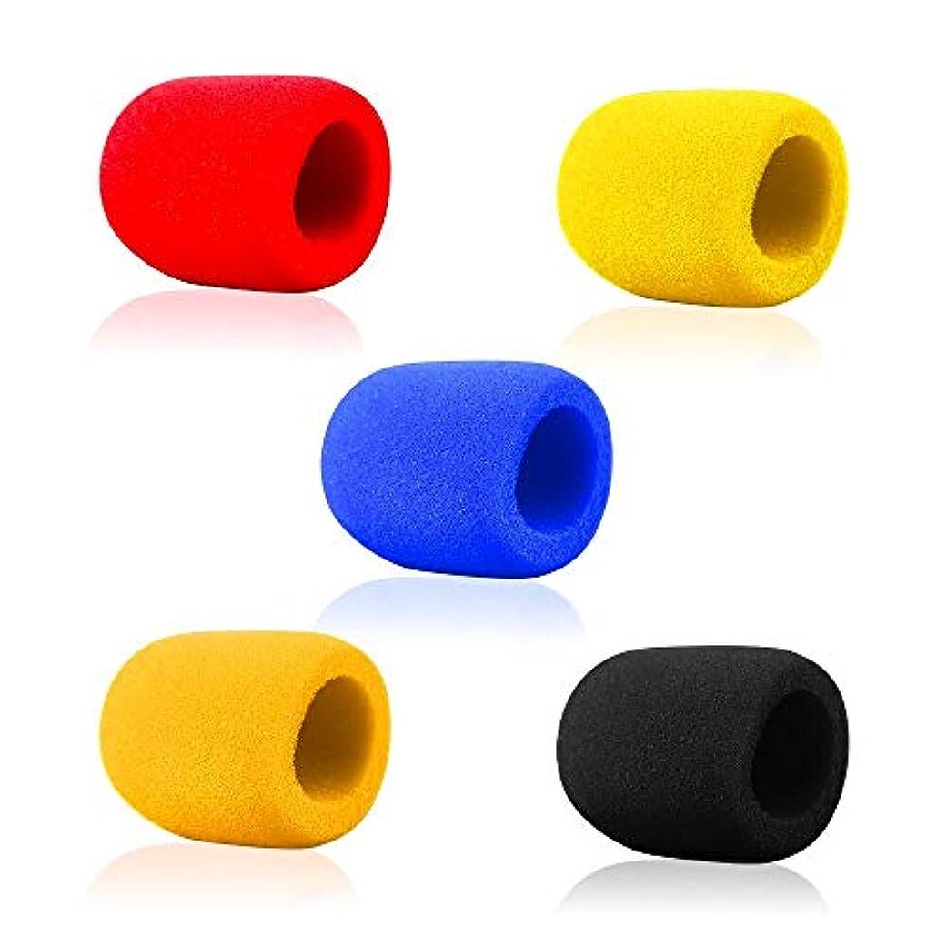 インフレーション物質腐敗したマイクスポンジ 5個セット マイク風防 ウインドスクリーン 雑音防止 中型マイク用 5色