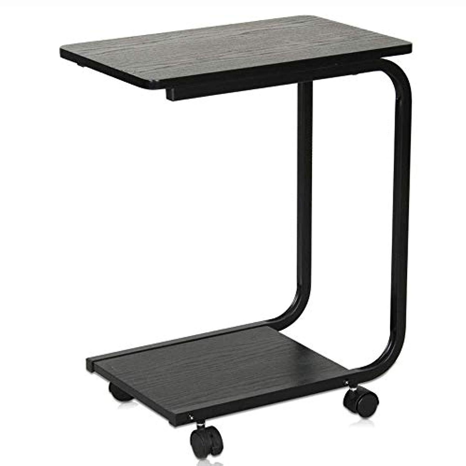 雇う勇気のあるイタリックシンプルなモバイルベッドルームのコーヒーテーブルサイドテーブル、ローラーバルコニーサイドテーブルカートトレイ、ラップトップスタンド、シックなU字型デザイン HuuWisseor22