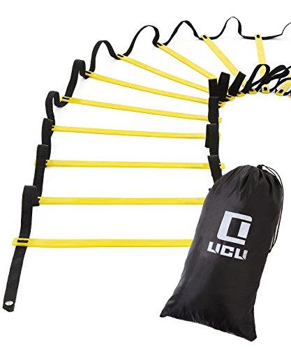 LICLI ラダー トレーニング 野球 サッカー 5m 7m 9m プレート 9枚 13枚 21枚 収納袋付き 3カラー 「 連結可能 スピードラダー 」「 瞬発力 敏捷性 アップ 」「 フットサル テニス 練習 」 トレーニングラダー ladder (イエロー, 5m)