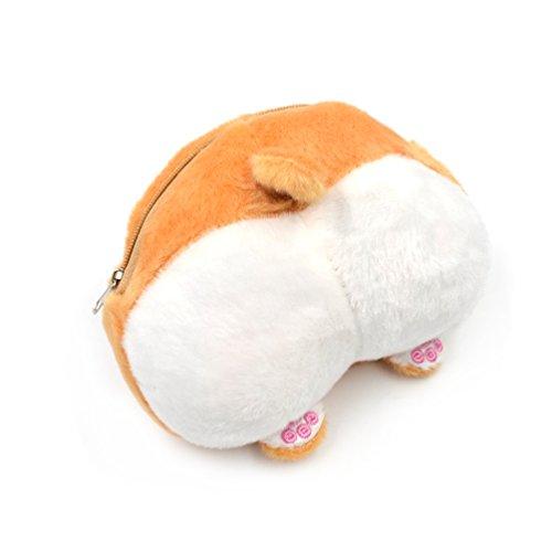 (ライチ) Lychee 超かわいい コーギー犬のお尻としっぽ形 小銭入れ 小物入れ 財布 肉球 バッグチャム コインケース ふわふわプラッシュ製 メンズ レディース ユニセックス