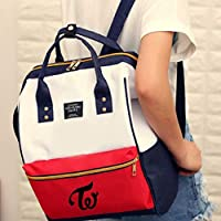 CherriGumi Pretty Kpop Twice Canvas Backpack Student Schoolbag Mummy Bag Hasp Shoulder Handbag Teenager Zipper Backpack Women Travel Rucksack Girl Boy Book Bag in fine Style(None Twice)