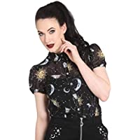 Ro Rox Boutique Hell Bunny Solaris Sun Moon Stars Gothic Wicca Chiffon Shirt Top Blouse XS-4XL